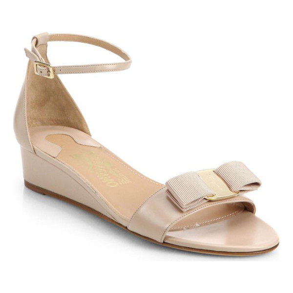 SALVATORE FERRAGAMO Margot bow leather wedge sandals - Elevated by a modest wedge, these timelessly versatile...