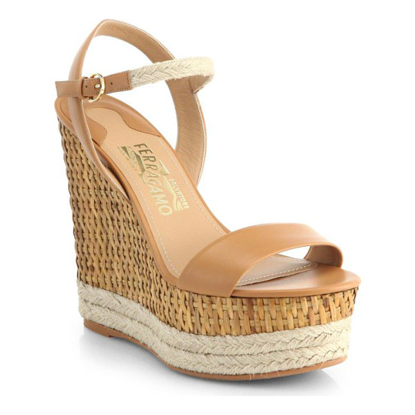 SALVATORE FERRAGAMO Marlene wicker wedge espadrille sandals - A woodsy wicker wedge lends casual-chic style to these...