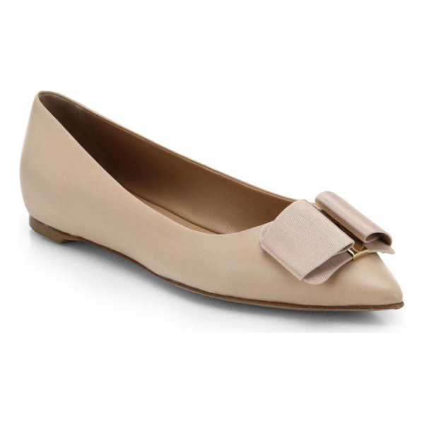 SALVATORE FERRAGAMO mini leather point toe ballet flats - Feminine point-toe ballet flats in supple Italian leather,