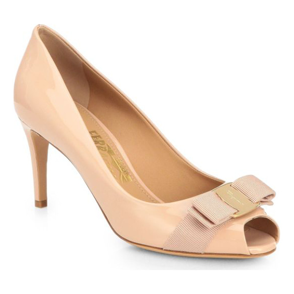 SALVATORE FERRAGAMO pola patent leather peep-toe pump - A logo-engraved, grosgrain bow dresses up these pretty...