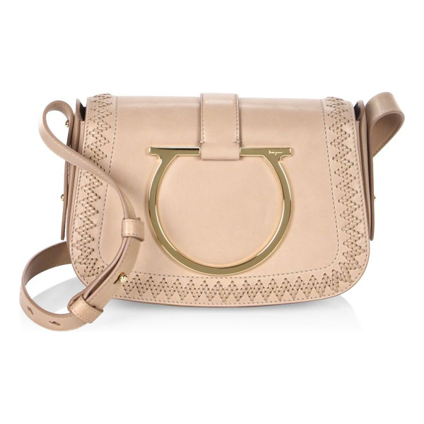 SALVATORE FERRAGAMO sabine leather saddle bag - Leather saddle bag with bold Gancio bracelet and woven