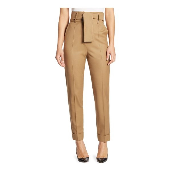 SARA BATTAGLIA belted high-waist wool trousers - Straight-cut wool trouser with cinched high waist. Banded...