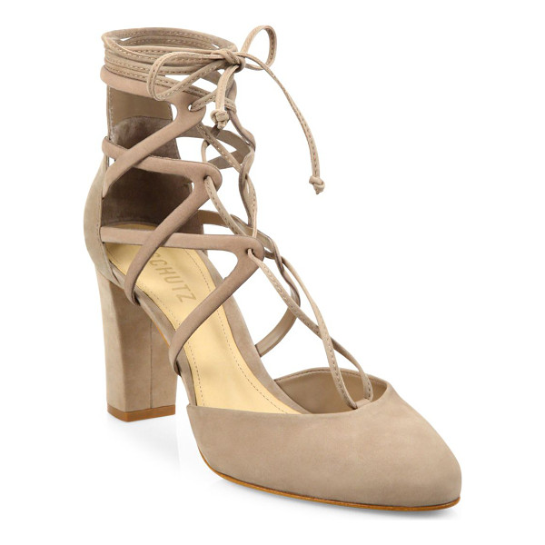 SCHUTZ arya strappy nubuck lace-up pumps - Chic suede lace-up pump with cutout caged shaft....