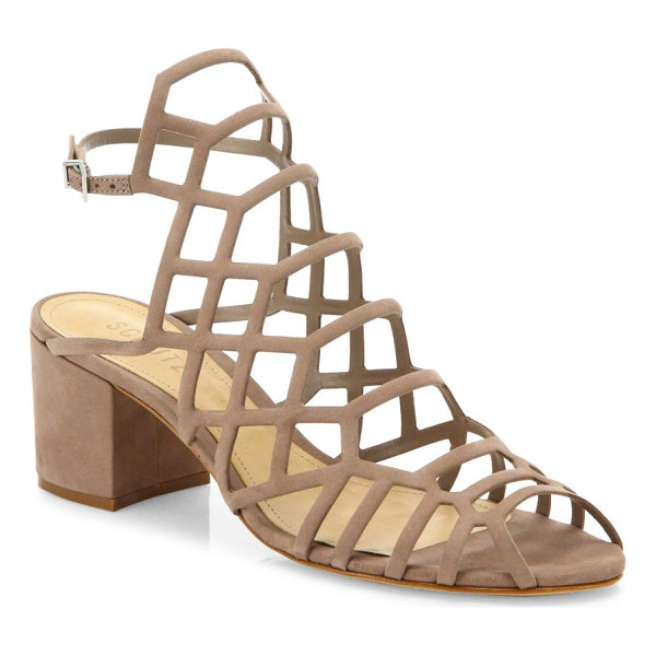 SCHUTZ bollie suede caged block heel sandals - EXCLUSIVELY AT SAKS FIFTH AVENUE. Alluring suede caged...