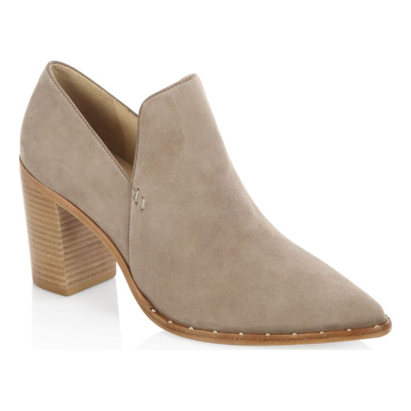 SCHUTZ fomo suede booties - Pump-inspired suede bootie with ankle cutout. Stacked block