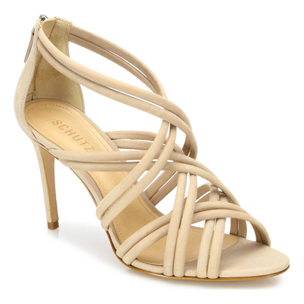 SCHUTZ glassy strappy suede sandals - Tubular suede straps crisscross atop cage sandal.