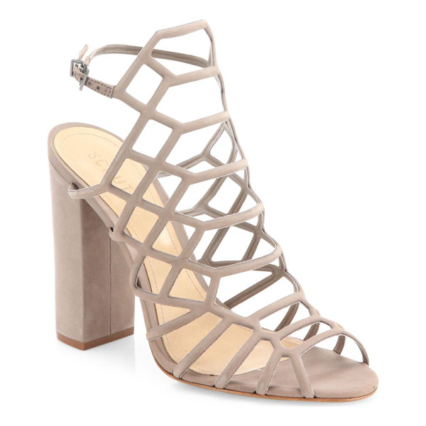 SCHUTZ jaden caged suede block heel sandals - Alluring caged suede sandal set on chunky block heel....