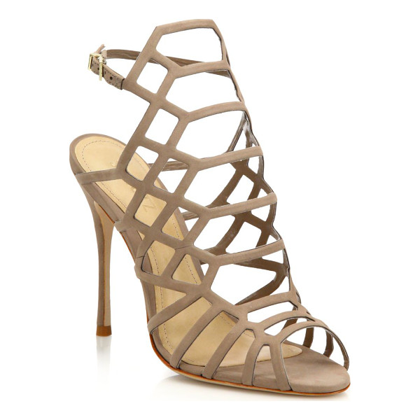 SCHUTZ juliana suede caged sandals - Cutout suede caged sandal set on svelte heel. Self-covered