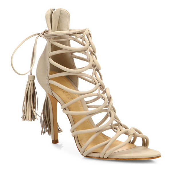 SCHUTZ valquis suede lace-up cage sandals - Sultry suede cage sandal with tasseled lace-up tie....