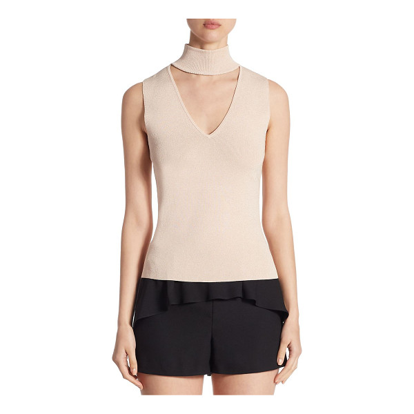 SCRIPTED metallic sleeveless choker sweater - EXCLUSIVELY AT SAKS FIFTH AVENUE. On-trend choker sweater...