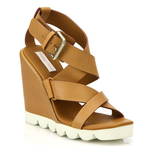 SEE BY CHLOE bisco leather wedge sandals - Sporty rubber sole balances feminine leather wedge....