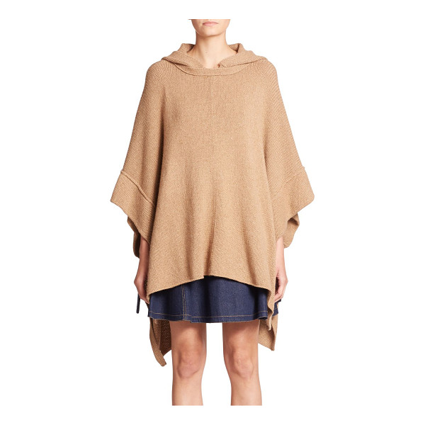 SEE BY CHLOE Hooded knit poncho - This effortless, neutrally hued hooded poncho turns to...