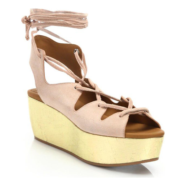 SEE BY CHLOE liana suede lace-up platform wedge sandals - Metallic cork wedge illuminates suede lace-up sandal....