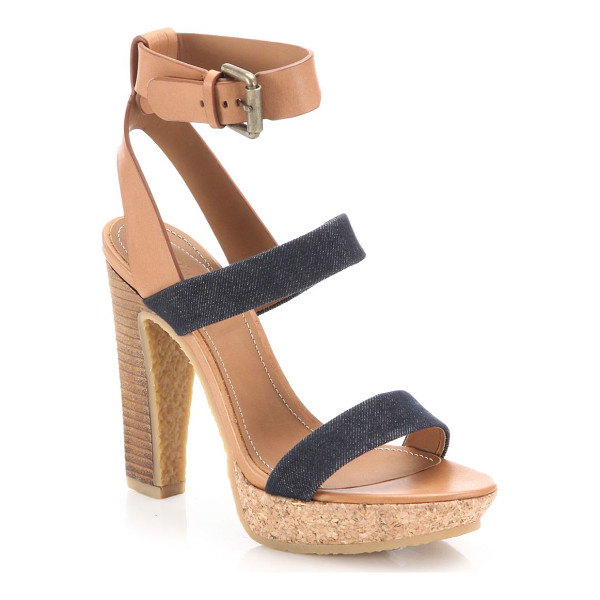 SEE BY CHLOE edith denim & leather sandals - Chic denim and leather platforms with a cork heel. Stacked...