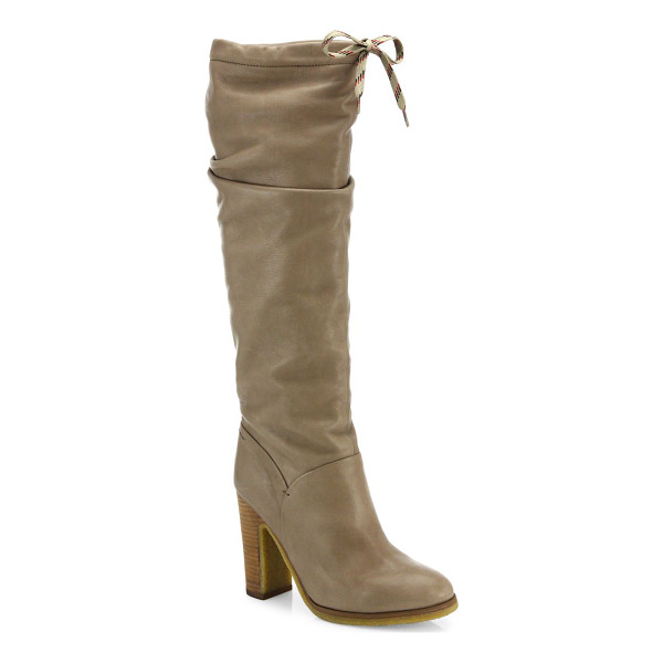SEE BY CHLOE jona tall leather boots - A sporty tie closure contrasts supple calfskin. Contrast...