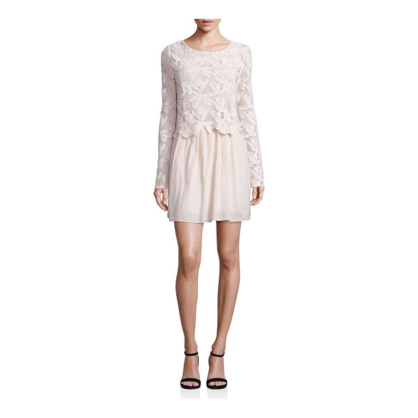 SEE BY CHLOE lace cotton voile dress - Floral lace bodice and sleeves with shirred skirt. Round...
