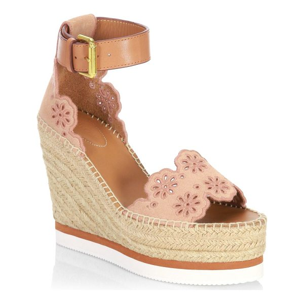 SEE BY CHLOE laser cut suede wedge espadrilles - Suede wedge espadrilles designed with floral cutouts. Wedge...