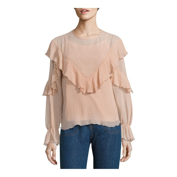 SEE BY CHLOE ruffled cotton & silk gauze blouse - Fluttering ruffles and bell sleeves style gauze blouse....