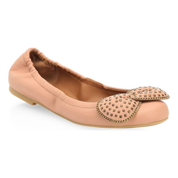 SEE BY CHLOE studded leather ballet flats - Leather ballet flats with bow detail on toe. Leather upper....