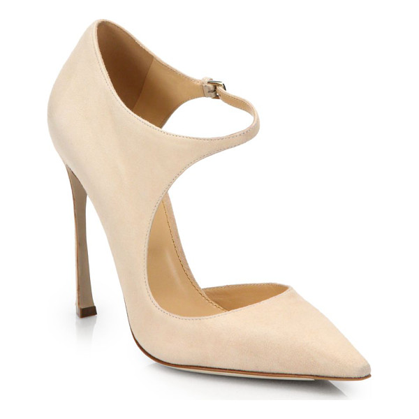 SERGIO ROSSI Cutout suede pumps - EXCLUSIVELY AT SAKS IN INDIGO. An undeniably modern design,...