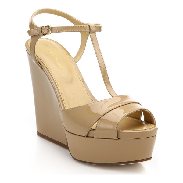 SERGIO ROSSI edwige patent leather t-strap wedge sandals - Platform wedge sandals in glossy patent leather....
