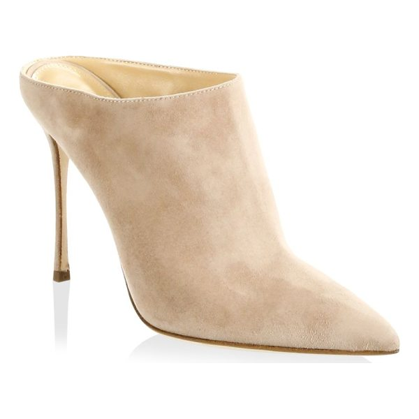 "SERGIO ROSSI godiva suede mules - Stiletto heel, 4.13"" (105mm).Suede upper. Point toe...."