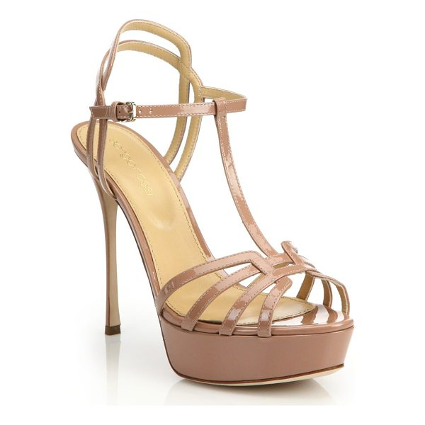 SERGIO ROSSI ines patent t-strap platform sandals - Luxe patent platforms exude feminine glam. Self-covered...