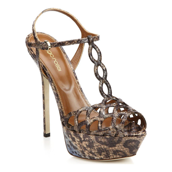 SERGIO ROSSI Snakeskin platform sandals - EXCLUSIVELY AT SAKS. Glamorous skyscraper sandals crafted...