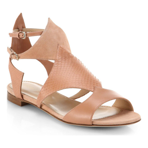 SERGIO ROSSI Patricia leather, watersnake and suede flat sandals - A sharply cut, neutrally hued style spliced in a chic clash...