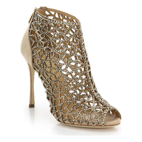 SERGIO ROSSI Tresor swarovski cage suede sandals - Shimmering jewels trace every angle of this elaborately cut...