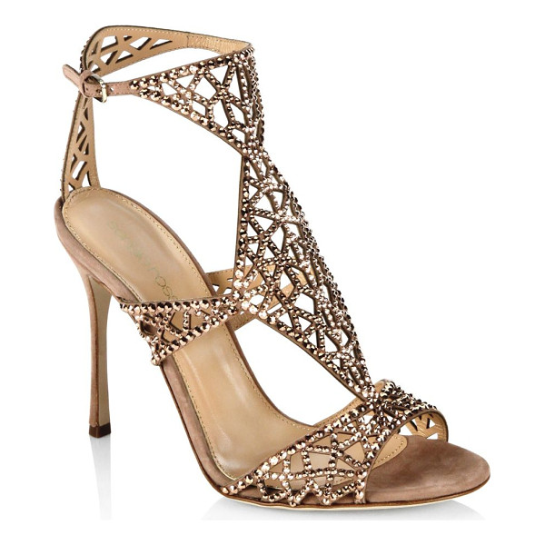 SERGIO ROSSI tresor swarovski crystal and suede sandals - Glamorous heels with glittery detailing. Self-covered heel,