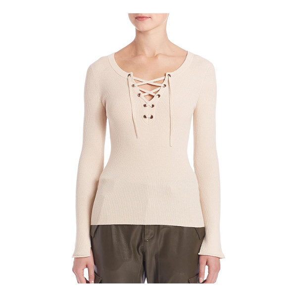 SET lace-up long sleeve sweater - EXCLUSIVELY AT SAKS FIFTH AVENUE. Elegant ribbed textures...