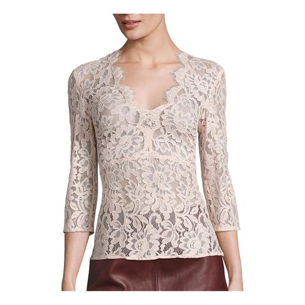 SET lace v-neck blouse - EXCLUSIVELY AT SAKS FIFTH AVENUE. Scalloped floral lace...