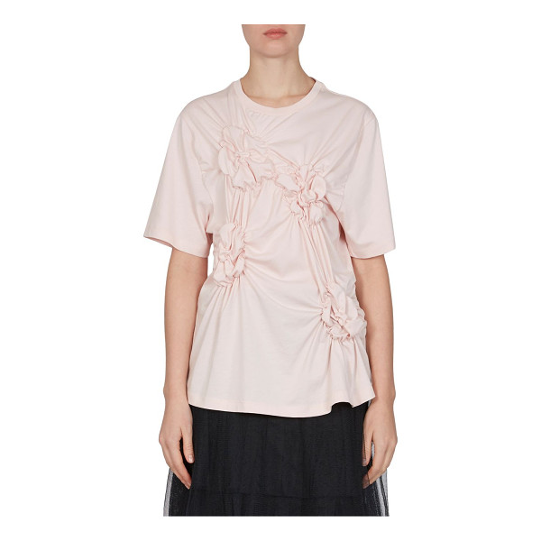SIMONE ROCHA floral smocked cotton tee - Cotton tee highlighted with floral smocked details....