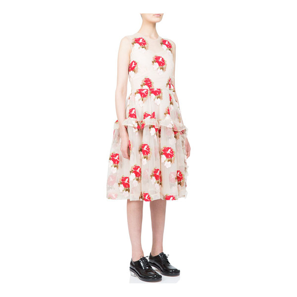 SIMONE ROCHA Floral tulle ruffle dress - Asymmetrical ruffle panels enliven this airy tulle dress,...
