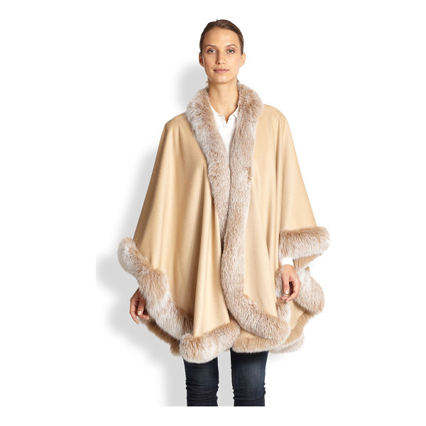 SOFIA CASHMERE Cashmere & fox fur cape - A luxurious answer to cold-weather layering, designed in...