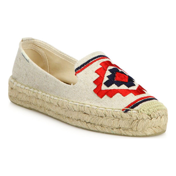 SOLUDOS aztec canvas platform espadrilles - Canvas platform espadrille with embroidered Aztec motif....