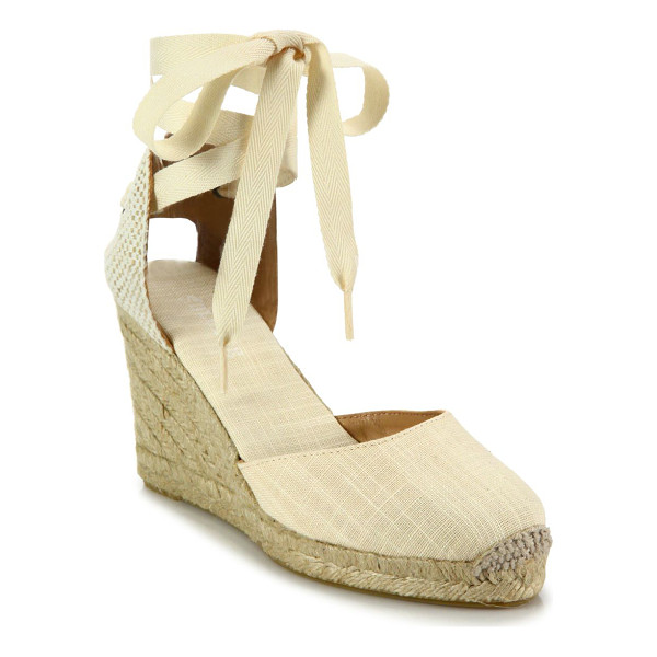 SOLUDOS canvas ankle-wrap wedge espadrilles - Canvas d'Orsay espadrille wedge with lace-up ankle.