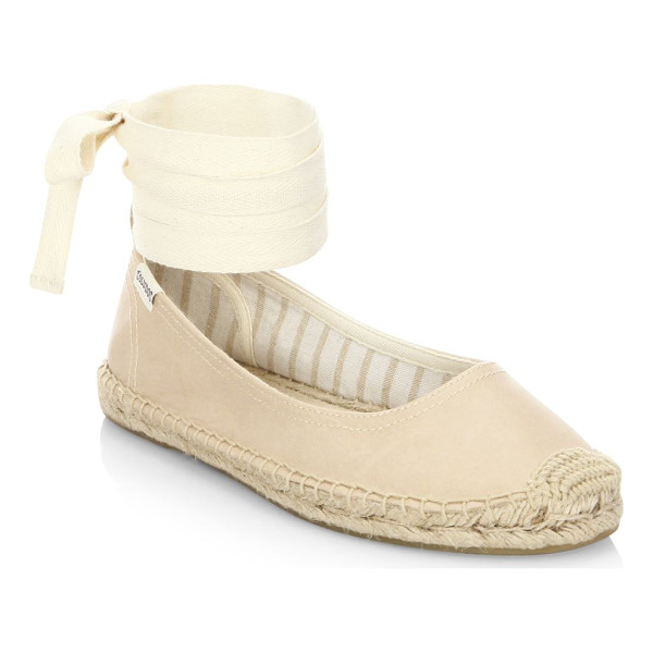 SOLUDOS leather ankle-wrap ballet flats - Herringbone leather flats with espadrille trims. Leather...