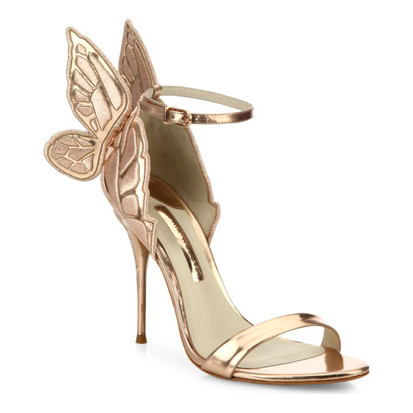 SOPHIA WEBSTER chiara mid-heel wing embroidered metallic leather sandals - Metallic mid-heel sandal with embroidered wing detail....