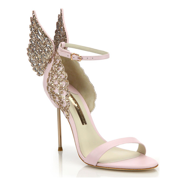 SOPHIA WEBSTER evangeline embellished winged leather sandals - Glitter-embellished wings soften chic, whimsy pair.