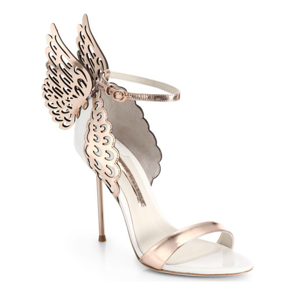 SOPHIA WEBSTER evangeline winged leather sandals - Fantasy-worthy heels marked by icy metallic leather wings...