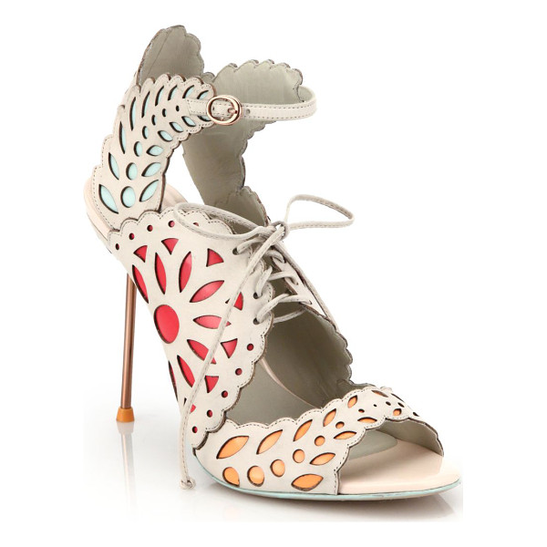 SOPHIA WEBSTER Keira lace-up leather doily sandals - Brightly hued underlays pop through the laser-cut doily...