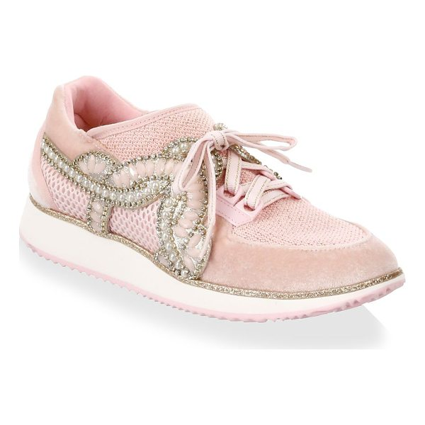 SOPHIA WEBSTER royalty low top sneakers - Chic sneakers embedded with sparkling appliques. Velvet and...