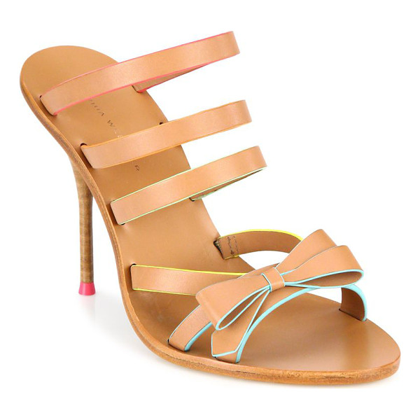 SOPHIA WEBSTER samara bow strappy leather mules - Multi-strap leather mule with femme bow detail. Stacked