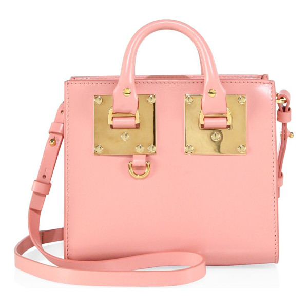 SOPHIE HULME mini leather box tote - EXCLUSIVELY AT SAKS FIFTH AVENUE IN BLUSH BLUE. Mini
