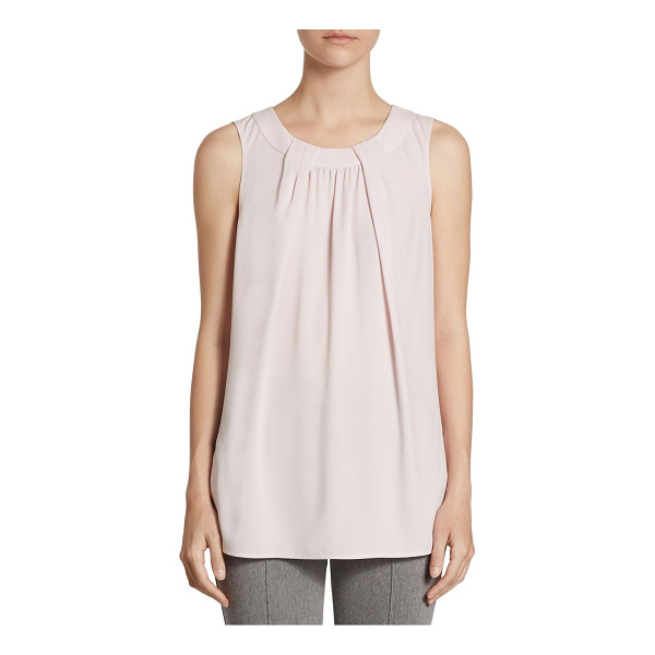 ST. JOHN pleated shell top - Shell top with pleated detailing. Roundneck. Sleeveless....
