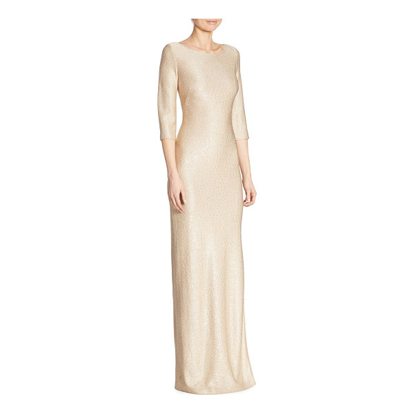 ST. JOHN roundneck sequin gown - Radiant three-quarter sleeve gown with sequin accents....