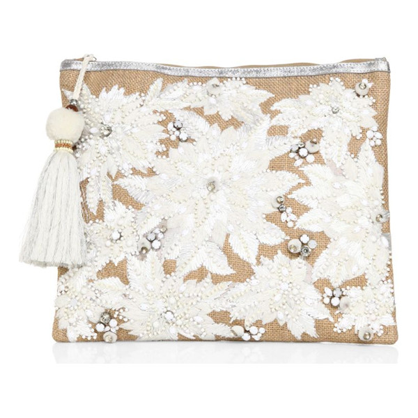 STAR MELA mansi embroidered clutch - Go-to clutch decorated with sequins and embroidery. Top zip...