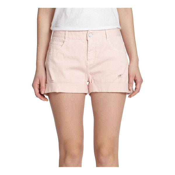 STELLA MCCARTNEY Distressed denim shorts - This laidback classic cast in a pale pink wash is finished...
